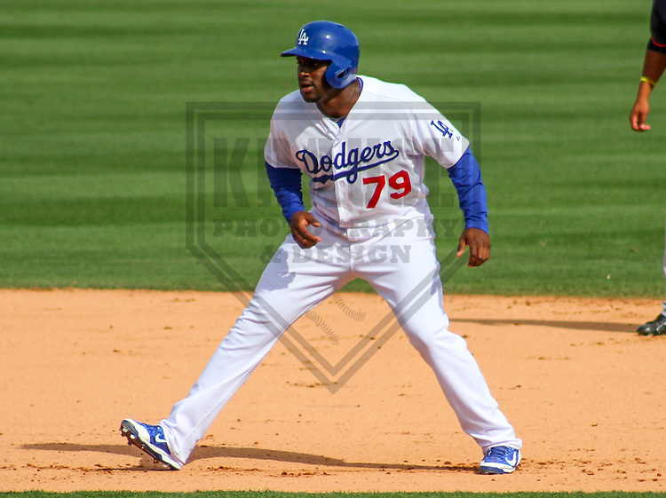 GLENDALE - March 2015: O'Koyea Dickson (75) of the Los Angeles Dodgers during a spring training game against the Cleveland Indians on March 17th, 2015 at Camelback Ranch in Glendale, Arizona. (Photo Credit: Brad Krause)