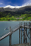 Wooden jetty,Lake Resia, Italian/ Austrian border.
