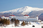 View of Mt Jefferson and the Mt Washington Hotel from Crawford Notch, White Mountain National Forest, NH, USA