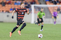Houston, TX -  Friday, December 9, 2016: Corey Baird (10) of the Stanford Cardinal races for the North Carolina Tar Heels goal in the first half of the  NCAA Men's Soccer Semifinals at BBVA Compass Stadium.
