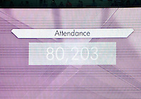 August 09, 2012: TV screen displays attendance of Women's Football Final match at the Wembley Stadium on day thirteen in Wembley, England. USA defeat Japan 2-1 to win it's third consecutive Olympic gold medal in women's soccer. ..