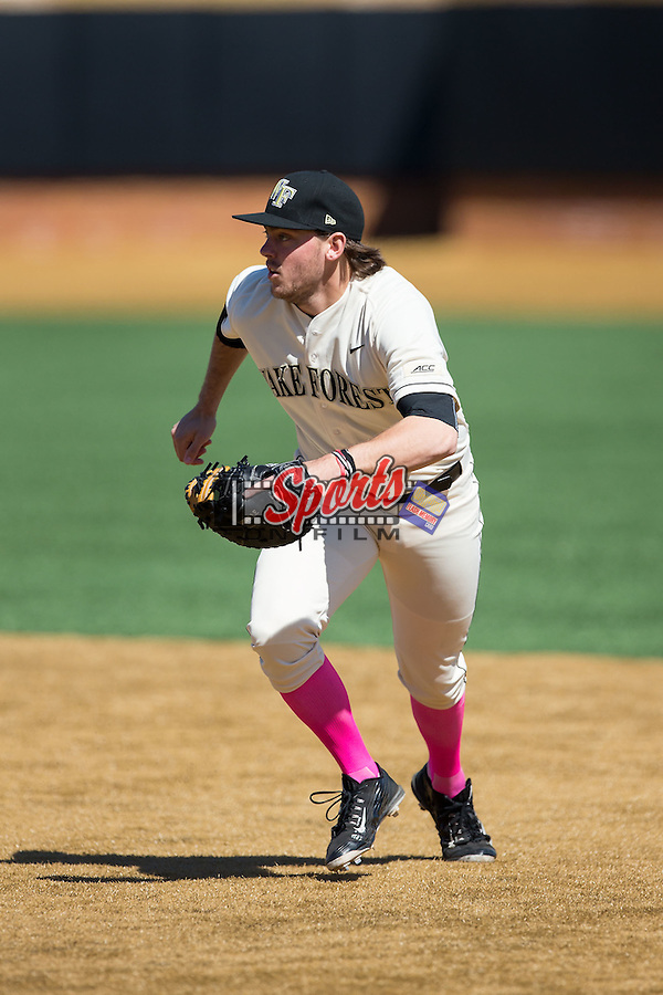 Wake Forest Demon Deacons first baseman Will Craig (22) on defense against the Virginia Tech Hokies at Wake Forest Baseball Park on March 7, 2015 in Winston-Salem, North Carolina.  The Hokies defeated the Demon Deacons 12-7 in game one of a double-header.   (Brian Westerholt/Sports On Film)
