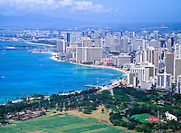 Waikiki seen from Diamond Head, Oahu, Hawaii