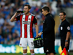 Richard Stearman of Sheffield Utd takes a drink during the Championship match at the Cardiff City Stadium, Cardiff. Picture date: August 15th 2017. Picture credit should read: Simon Bellis/Sportimage