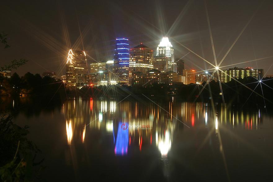 Star reflection on the Austin Skyline