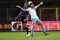 24th June 2020, Bergamo, Italy; Seria A football league, Atalanta versus Lazio;  Timothy Castagne challenges for a header with Sergej Milinkovic Savic