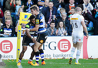 Kyle Eastmond of Bath Rugby is congratulated on his try in the first half. Aviva Premiership match, between Bath Rugby and Harlequins on October 31, 2015 at the Recreation Ground in Bath, England. Photo by: Alex Davidson / JMP for Onside Images