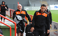 Blackpool Assistant Manager Gary Brabin, John O'Sullivan and Ryan McLaughlin arrive<br /> <br /> Photographer Kevin Barnes/CameraSport<br /> <br /> Emirates FA Cup First Round - Exeter City v Blackpool - Saturday 10th November 2018 - St James Park - Exeter<br />  <br /> World Copyright &copy; 2018 CameraSport. All rights reserved. 43 Linden Ave. Countesthorpe. Leicester. England. LE8 5PG - Tel: +44 (0) 116 277 4147 - admin@camerasport.com - www.camerasport.com