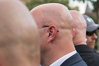 """Wahlkampfauftaktveranstaltung der rechten """"Alternative fuer Deutschland"""", AfD, in Brandenburg am Samstag den 13. Juli 2019 im brandenburgischen Cottbus zur Landtagswahl am 1. September mit dem brandenburger Landesvorsitzenden Andreas Kalbitz, dem saechsichen Landesvorsitzenden Joerg Urban, Thueringens AfD-Chef Bjoern Hoecke und dem Parteivorsitzenden Joerg Meuthen. Die drei Landesvorsitzenden sind Anhaenger der rechtsextremen AfD-Gruppierung """"Fluegel"""" um Bjoern Hoecke, die vom Verfassungsschutz geprueft wird.<br /> In der Mitte: Der brandenburger Landesvorsitzende Andreas Kalbitz.<br /> 13.7.2019, Berlin<br /> Copyright: Christian-Ditsch.de<br /> [Inhaltsveraendernde Manipulation des Fotos nur nach ausdruecklicher Genehmigung des Fotografen. Vereinbarungen ueber Abtretung von Persoenlichkeitsrechten/Model Release der abgebildeten Person/Personen liegen nicht vor. NO MODEL RELEASE! Nur fuer Redaktionelle Zwecke. Don't publish without copyright Christian-Ditsch.de, Veroeffentlichung nur mit Fotografennennung, sowie gegen Honorar, MwSt. und Beleg. Konto: I N G - D i B a, IBAN DE58500105175400192269, BIC INGDDEFFXXX, Kontakt: post@christian-ditsch.de<br /> Bei der Bearbeitung der Dateiinformationen darf die Urheberkennzeichnung in den EXIF- und  IPTC-Daten nicht entfernt werden, diese sind in digitalen Medien nach §95c UrhG rechtlich geschuetzt. Der Urhebervermerk wird gemaess §13 UrhG verlangt.]"""