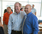 Microsoft president and chief legal officer Brad Smith meets with Fernley middle school superintendent Wayne Workman in Fernley, Nevada on Tuesday, July 18 2017..