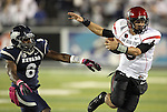 San Diego State's Adam Dingwell (6) is pushed out-of-bounds by Nevada's Marlon Johnson (8) during the second half of an NCAA college football game in Reno, Nev., on Saturday, Oct. 20, 2012. (AP Photo/Cathleen Allison)