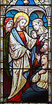 Stained glass window in church of Saint Michael, Peasenhall, Suffolk, England, UK circa 1868 by Ward and Huges Jesus Christ Healing the sick a