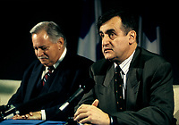 Montreal (Qc) CANADA - File Photo -  1995 -<br /> Jacques Parizeau, Leader Parti Quebecois and Quebec Premier (L)<br /> Lucien Bouchard, Leader Bloc Quebecois (R), at a press conference