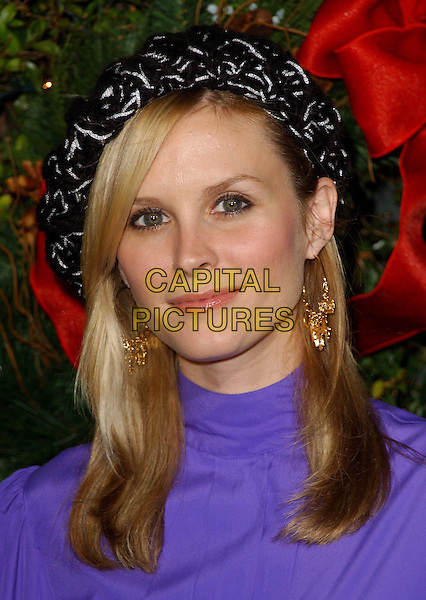 "BONNIE SOMERVILLE.The New Line Pictures' World Premiere of ""Just Friends"" held at The Mann Village Theatres in Westwood, California  .November 14th, 2005.Ref: DVS.headshot portrait black white hat gold earrings.www.capitalpictures.com.sales@capitalpictures.com.Supplied By Capital PIctures"