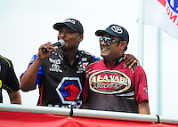 Jun. 29, 2012; Joliet, IL, USA: NHRA top fuel dragster drivers Antron Brown (left) with Khalid Albalooshi during qualifying for the Route 66 Nationals at Route 66 Raceway. Mandatory Credit: Mark J. Rebilas-