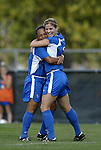 29 October 2004: Gabriela Quiggle (left) and Monica Brothers (right) celebrate after Brothers' goal at 53:37 pushed the KU lead to 4-0. Kansas defeated Iowa State 4-0 in Lawrence, KS to clinch the Big XII Conference Womens Soccer Championship..