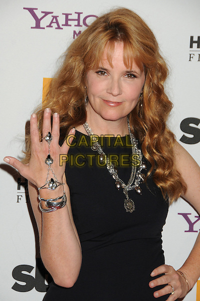 Lea Thompson.15th Annual Hollywood Film Awards Gala held at the Beverly Hilton Hotel, Los Angeles, California, USA..24 October 2011.half length dress hand bracelet ring chain on hip black sleeveless necklace silver .CAP/ADM/BP.©Byron Purvis/AdMedia/Capital Pictures.