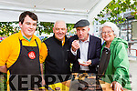 Michael healy Rae sampling the de Roiste black and White puddings at the Flavour of Killorglin festival on Saturday l-r: Daithi Allen, Jimmy Allen and eileen McGillycuddy