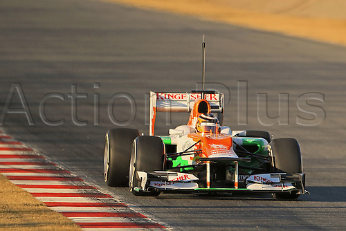 21.02.2012 Barcelona Spain. Formula One testing, day 1. Nico Hulkenberg in the Force India this morning.