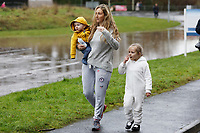 Pictured: A woman and her two young children walk to safety after being evacuated by the fire service in Nantgarw, Wales, UK. Sunday 16 February 2020<br /> Re: Residents from Oxford Street in the village of Nantgarw had to be evacuated in inflatable boats by the Fire Service after rover Taff burst its banks in south Wales, UK.