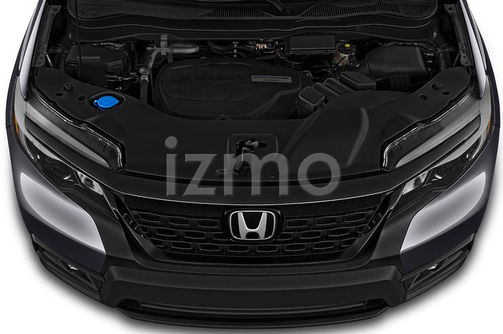 Car Stock 2019 Honda Passport Sport 5 Door SUV Engine  high angle detail view