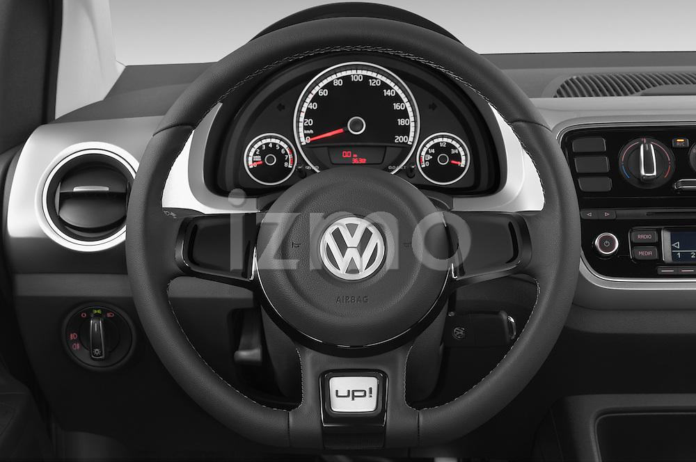 Car pictures of steering wheel view of a 2014 Volkswagen up! Cross up! 5 Door Hatchback 2WD Steering Wheel
