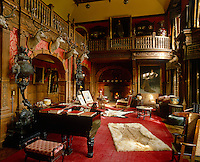 This baronial hall is resplendent with hunting trophies and gilt-framed portraits of former incumbents