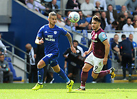 Cardiff City's Joe Bennett battles with Aston Villa's Scott Hogan<br /> <br /> Photographer Ian Cook/CameraSport<br /> <br /> The EFL Sky Bet Championship - Cardiff City v Aston Villa - Saturday August 12th 2017 - Cardiff City Stadium - Cardiff<br /> <br /> World Copyright &copy; 2017 CameraSport. All rights reserved. 43 Linden Ave. Countesthorpe. Leicester. England. LE8 5PG - Tel: +44 (0) 116 277 4147 - admin@camerasport.com - www.camerasport.com