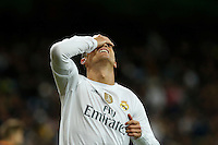 Real Madrid´s Cristiano Ronaldo reacts after missing a goal chance during 2015-16 La Liga match between Real Madrid and Barcelona at Santiago Bernabeu stadium in Madrid, Spain. November 21, 2015. (ALTERPHOTOS/Victor Blanco) /NortePhoto