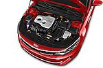 Car Stock 2017 KIA Optima EX-Hybrid 4 Door Sedan Engine  high angle detail view