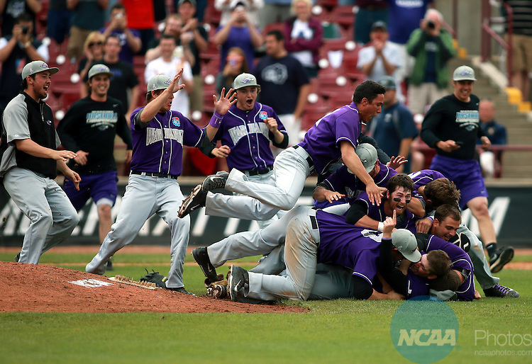 27 MAY 2014 The University of Wisconsin-Whitewater baseball team celebrates  a 7-0 win over Emory to win the NCAA D3 National Baseball Championship at Fox Cities Stadium in Appleton, Wisconsin.  Whitewater became the first NCAA school at any level to win football, basketball, and baseball championships in the same academic year.                          Allen Fredrickson/NCAA PHOTOS