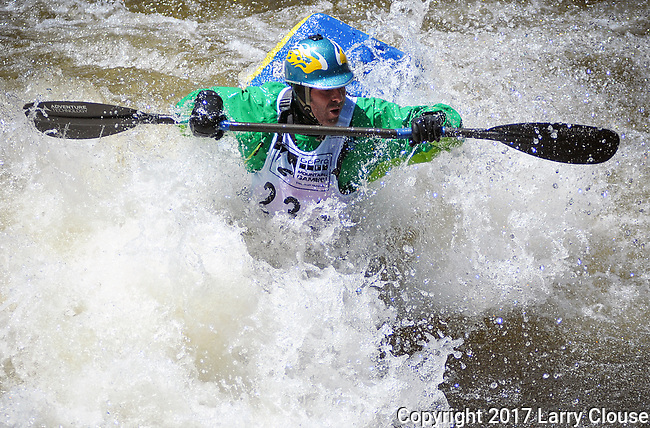 June 9, 2017 - Vail, Colorado, U.S. - Team Jackson paddler, Stephen Wright, in the Freestyle Kayak competition during the GoPro Mountain Games, Vail, Colorado.  Adventure athletes from around the world meet in Vail, Colorado, June 8-11, for America's largest celebration of mountain sports, music, and lifestyle.