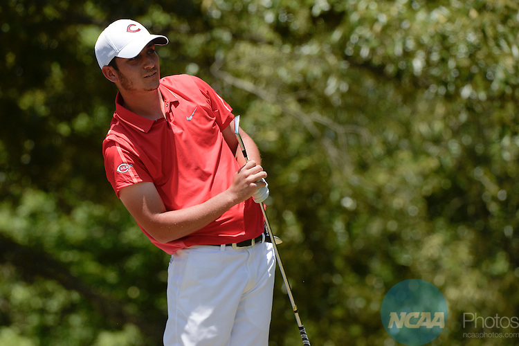 20 MAY 2015:  Sam Migdal of Central Missouri watches his tee shot on the 15th hole during the Division II Men's Individual Golf Championship held at the Rock Barn Golf & Spa in Conover, NC. Grant Halverson/NCAA Photos