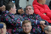 Pictured: Swansea supporters Monday 15 May 2017<br /> Re: Premier League Cup Final, Swansea City FC U23 v Reading U23 at the Liberty Stadium, Wales, UK