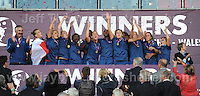 The victorius French team celebrate on winning the UEFA Womens U19 Final at Parc y Scarlets Saturday 31st August 2013. All images are the copyright of Jeff Thomas Photography-www.jaypics.photoshelter.com-07837 386244-Any use of images must be authorised by the copyright owner.