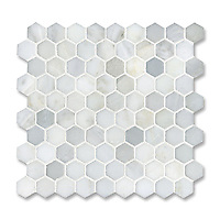 3 cm Hex shown in Calacatta Radiance (available in honed or polished finish) is part of New Ravenna's Studio Line of ready to ship mosaics.