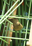 Market Street Bridge construction, Williamsport, PA. Workers glove on rebar.