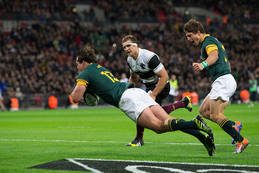 Francois Venter of South Africa scores his sides fourth try Photographer Craig Mercer/CameraSport<br /> <br /> International Rugby Union Friendly - Barbarians v South Africa - Saturday 5th November 2016 - Wembley Stadium - London<br /> <br /> World Copyright &copy; 2016 CameraSport. All rights reserved. 43 Linden Ave. Countesthorpe. Leicester. England. LE8 5PG - Tel: +44 (0) 116 277 4147 - admin@camerasport.com - www.camerasport.com