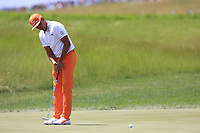 Rickie Fowler (USA) on the practice green before starting his match during Sunday's Final Round of the 117th U.S. Open Championship 2017 held at Erin Hills, Erin, Wisconsin, USA. 18th June 2017.<br /> Picture: Eoin Clarke | Golffile<br /> <br /> <br /> All photos usage must carry mandatory copyright credit (&copy; Golffile | Eoin Clarke)