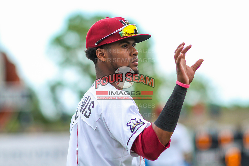 Wisconsin Timber Rattlers outfielder Carlos Belonis (2) warms up prior to game one of a Midwest League doubleheader against the Kane County Cougars on June 23, 2017 at Fox Cities Stadium in Appleton, Wisconsin.  Kane County defeated Wisconsin 4-3. (Brad Krause/Four Seam Images)