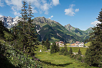 Austria, Vorarlberg, Schroecken-Nesslegg: with Hochberg 2.324 m and Braunarlspitze 2.649 m mountains
