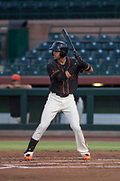 AZL Giants Black shortstop Abdiel Layer (17) at bat during an Arizona League game against the AZL Royals at Scottsdale Stadium on August 7, 2018 in Scottsdale, Arizona. The AZL Giants Black defeated the AZL Royals by a score of 2-1. (Zachary Lucy/Four Seam Images)