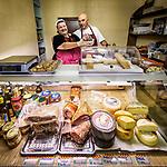Tuscano salami and shop keepers, Vinci, Tuscano, Italy