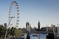 View of London from the Southbank shows London Eye, Big Ben, Houses of Parliament,  England, UK