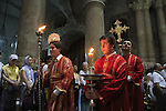 Israel, Jerusalem, Greek Orthodox Pentecost ceremony at the Church of the Holy Sepulchre