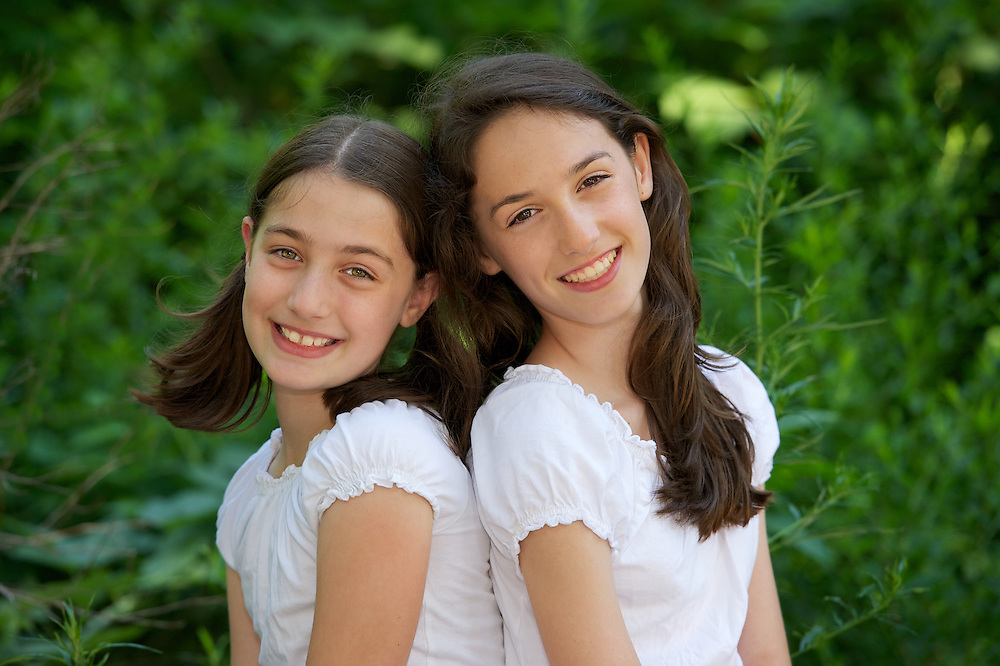 Portrait of sisters photographed in Central Park.