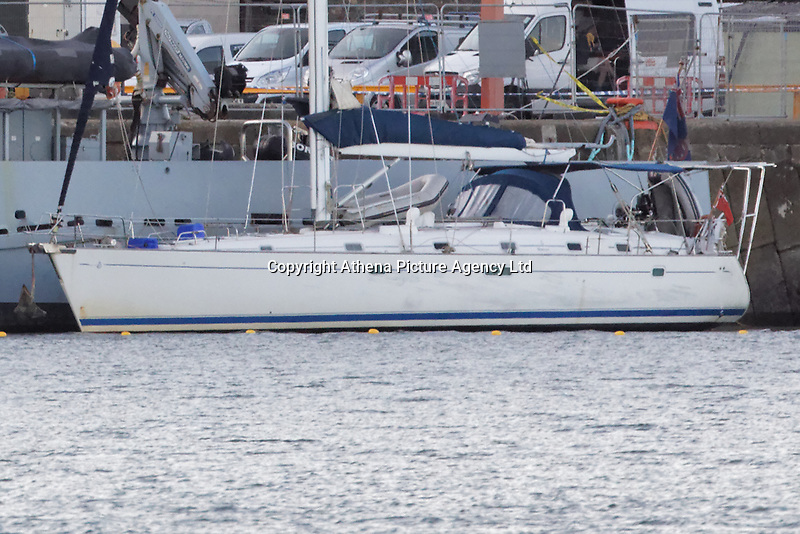 Pictured: The Sy Atrevido boat next to the Border Agency boat HMS Protector at Fishguard Port, west Wales, UK. Wednesday 28 August 2019<br /> Re: One of the largest hauls of cocaine in UK history has been found on board a boat in Fishguard, Wales, UK.<br /> Six people were arrested by officers from the National Crime Agency (NCA) as part of the operation and have recovered 250kg of the drug, with an additional 500kg expected to be found.<br /> The street value is believed to be £60m.<br /> The boat was targeted as part of an intelligence-led operation as it sailed into Fishguard harbour, Pembrokeshire.<br /> The boat, the Sy Atrevido, was intercepted half a mile off the coast by officers from the NCA and the Border Force, which had sailed from South America.