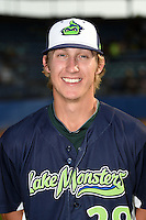 Vermont Lake Monsters pitcher Daniel Gossett (29) poses for a photo before a game against the Jamestown Jammers on July 12, 2014 at Russell Diethrick Park in Jamestown, New York.  Jamestown defeated Vermont 3-2.  (Mike Janes/Four Seam Images)
