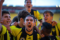 Phoenix players celebrate their second goal during the A-League football match between Wellington Phoenix and Newcastle Jets at Westpac Stadium in Wellington, New Zealand on Sunday, 21 october 2018. Photo: Dave Lintott / lintottphoto.co.nz