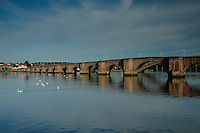 Berwick Bridge, or The Old Bridge, crossing the River Tweed at Berwick Upon Tweed, Northumberland<br /> <br /> Copyright www.scottishhorizons.co.uk/Keith Fergus 2011 All Rights Reserved